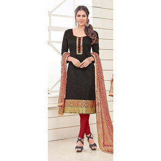 Dharshan Fashions Womens Embroidered Chanderi Dress Material (Black) (Unstitched)