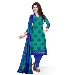 Drapes Womens Green Cotton Printed Dress material (unstitiched) DF1605 (Unstitched)
