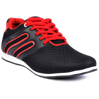 Footlodge Men's Red Lace-Up Casual Shoes