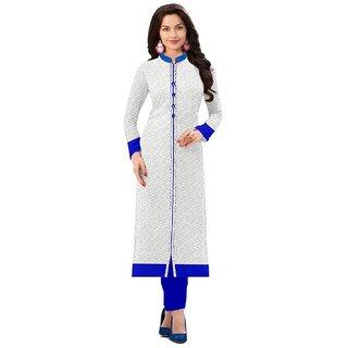 SIYA Women's Long White and Blue Net Kurta