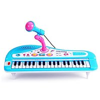 Sanmersen Kids Electronic  Keyboard Piano 37 Keys with crophone ke Rock Children Beginner Musical Educational Toy Gift (Blue) by Sanmersen