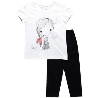 Meia for Girls Applique Printed Top with Leggings Set