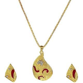 The99Jewel by JewelMaze Maroon Austrian Stone Gold Plated Chain Pendant Set -PAA0294