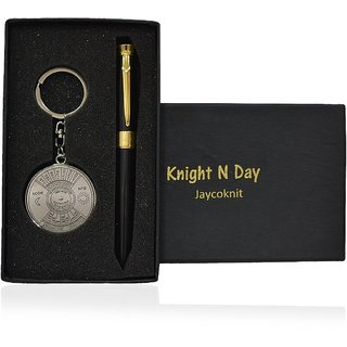 Knight N Day's Jet Fountain Black Metal Pen,Calendar Key chain Corporate Gift Set