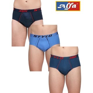 Alfa Men Multicolor Cotton Plain Briefs for Mens (Pack of 3)