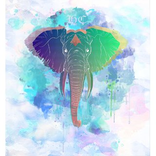 Tallenge - Rainbow Elephant - Small Size Unframed Rolled Digital Art Print On Photographic Paper For Home And Office Dcor (11x12 inches)