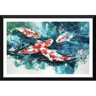 Tallenge - Koi Fishes Art 2 - Small Size Ready To Hang Framed Digital Art Print On Photographic Paper For Home And Office Dcor (8x12 inches)