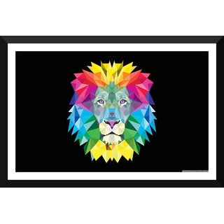 Tallenge - Triangle Geometric Lion Head - Medium Size Ready To Hang Framed Digital Art Print On Photographic Paper For Home And Office Dcor (11x18 inches)