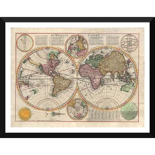 Tallenge - Decorative Vintage World Map - De Werelt Caart - Cornelis Dankerts - 1645 - Medium Size Ready To Hang Framed Digital Art Print On Photographic Paper For Home And Office Dcor (13x18 inches)