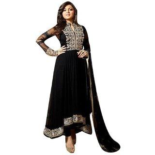 Pinkbird Woman Black Georgette Semi Stitched Anarkali Salwar Suit