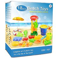 Click N Play 18 Piece Beach Sand Toy Set, Bucket, Shove
