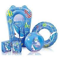 Kids Blue Swimming Pool 5 Piece Set Inflatable Beach Ba