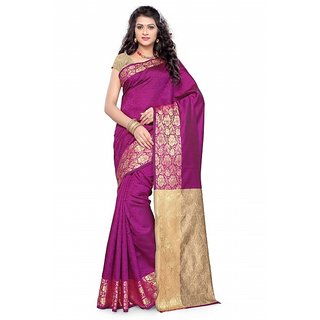 Satyam Weaves Beige & Pink Polycotton Self Design Saree With Blouse
