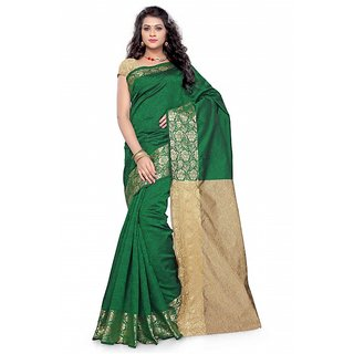 Satyam Weaves Beige & Green Polycotton Self Design Saree With Blouse