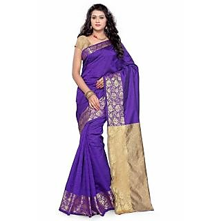 Satyam Weaves Purple & Beige Polycotton Self Design Saree With Blouse