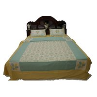 Kakori Cotton Double Bed Sheet & Dohar Print & Patchwork Aqua Blue, Cream 224X244 Cms