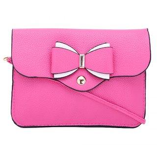 Trendy Pink Self Design Sling Bag