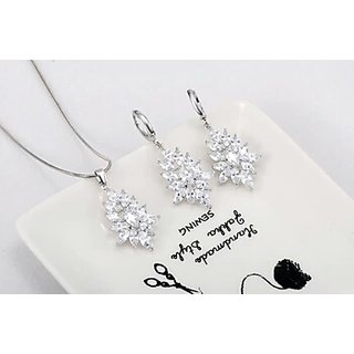 buy top zircon jewellery sets for women silver plated cubic zircon