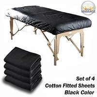Royal Massage 4COTTONFITTED-BK Cotton Flannel Massage Table Fitted Sheets, Set of 4, Black