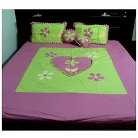 Royal Designer FANCY Double Bed Bedsheet Withs Pillow Cover + 3Pcs CUSHION TD-1349