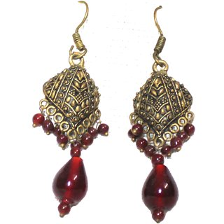 Scarlet Antique Traditional Red Women Earings