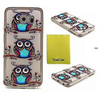 Samsung Galaxy S6 Case ,Trend Relief Owl Printed Design TPU Gel Skin Silicone Case Soft