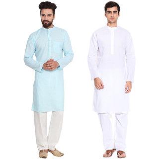 Real Brand- Blue and White Cotton Kurta Pyjama Set- Pack of 2