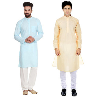 RiverZone Men's Beige & Blue Regular Fit Kurta Pyjama Sets (Pack of 2)