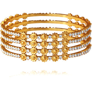 Spargz Bollywood Style Gold Plated Indian Bangles American Diamond Wedding Party Jewelry (4 Pieces) AIB043