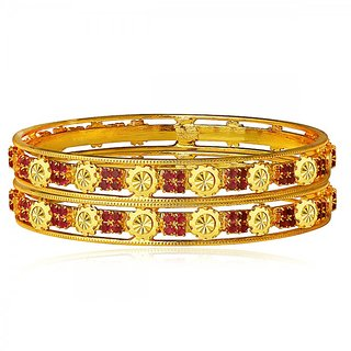 Spargz Flower Designer Gold Plated Indian Bangles Red American Diamond Wedding Party Jewelry (2 Pieces) AIB050