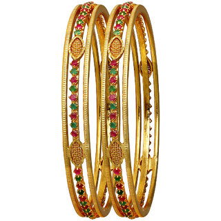 Spargz Designer Gold Plated Indian Bangles Multicolor Ruby Stone Wedding Party Jewelry (2 Pieces) AIB052