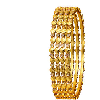 Spargz Bollywood Style Gold Plated Indian Bangles American Diamond Wedding Party Jewelry (4 Pieces) AIB053