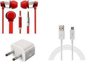 Jiyanshi Combo Of 2A Wall Charger & Stylish Earphone Red Compatible With Samsung Galaxy J2 (2016)