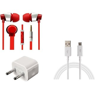 Jiyanshi Combo Of 2A Wall Charger & Stylish Earphone Red Compatible With Micromax Mega E353