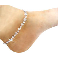 Sparkling Jewellery Pair Of CZ Stone Silver Plated Silver Alloy Designer Anklets For Women