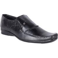 Shoeniverse Mens Black Synthetic Formal Slip On Shoes