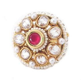 Biyu New Hot Collection Pearl Revers AD Ruby Gold Plated Adjustable Finger Ring