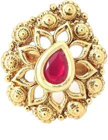 Biyu Bollywood Style Ruby Gold Plated Adjustable Finger Ring