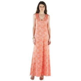Buclos Maxi Orange Self Design Women's Dress