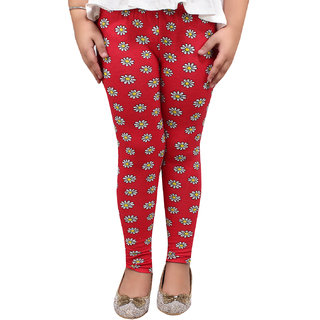 Meia for Girls Red Flower Printed Legging