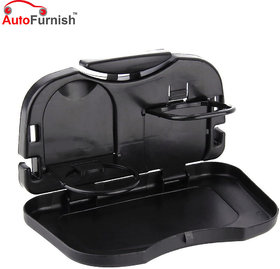 Autofurnish Automobile Car Meal Plate Drink Cup Holder Tray (Black)