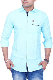 La Milano Sky Blue  Button Down Full sleeves Slim Fit Solid/Plain Casual Shirt For Men