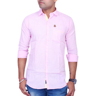 La Milano Pink Button Down Full sleeves Solid/Plain Casual Shirt For Men's
