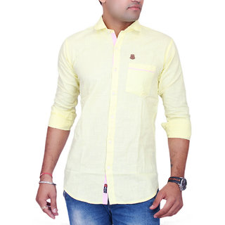 La Milano Yellow Button Down Full sleeves Solid/Plain Casual Shirt For Men's