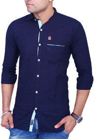 La Milano Men's Navy Blue Regular Fit Casual Shirt
