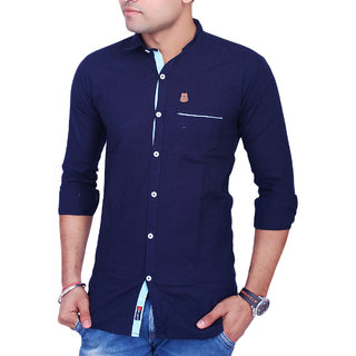 La Milano Men's Navy Blue Regular Fit Casual Shirt