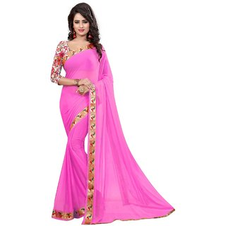 Genius Creation Pink abstractprint jacquard Saree With Blouse