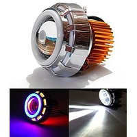 M10075 Projector Lamp (Red and Blue) High Intensity Led Headlight Stylish Dual Ring COB LED Inside Double Angel's Eye