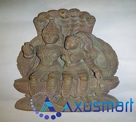 Red morble stone statue Naryanan with snack hight 7.6 inch lenth 5.8 inch wight 1kg