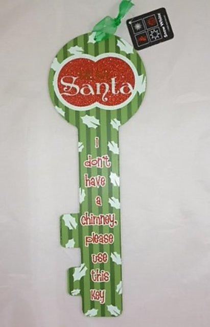 37cm /'Dear Santa/' Glitter Key Christmas Decoration PM310 GREEN